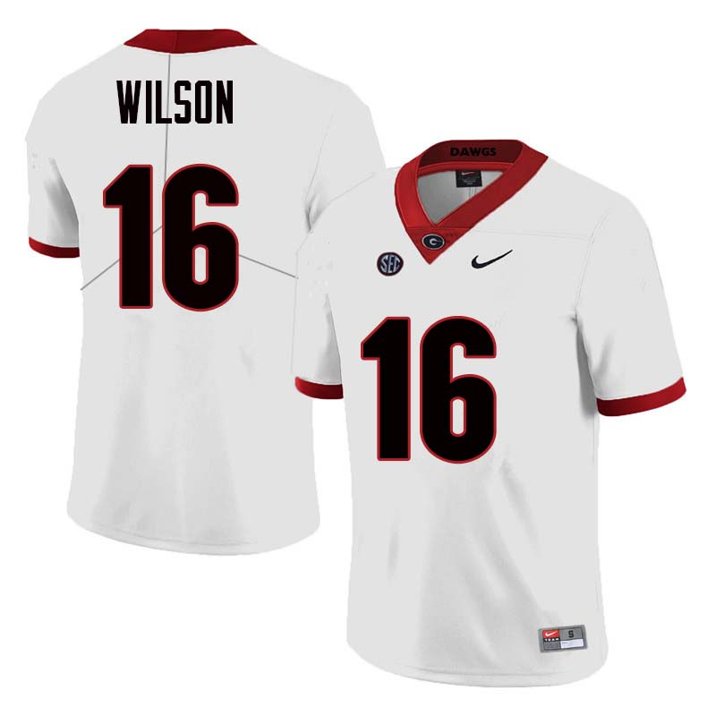 Men Georgia Bulldogs #16 Divaad Wilson College Football Jerseys Sale-White
